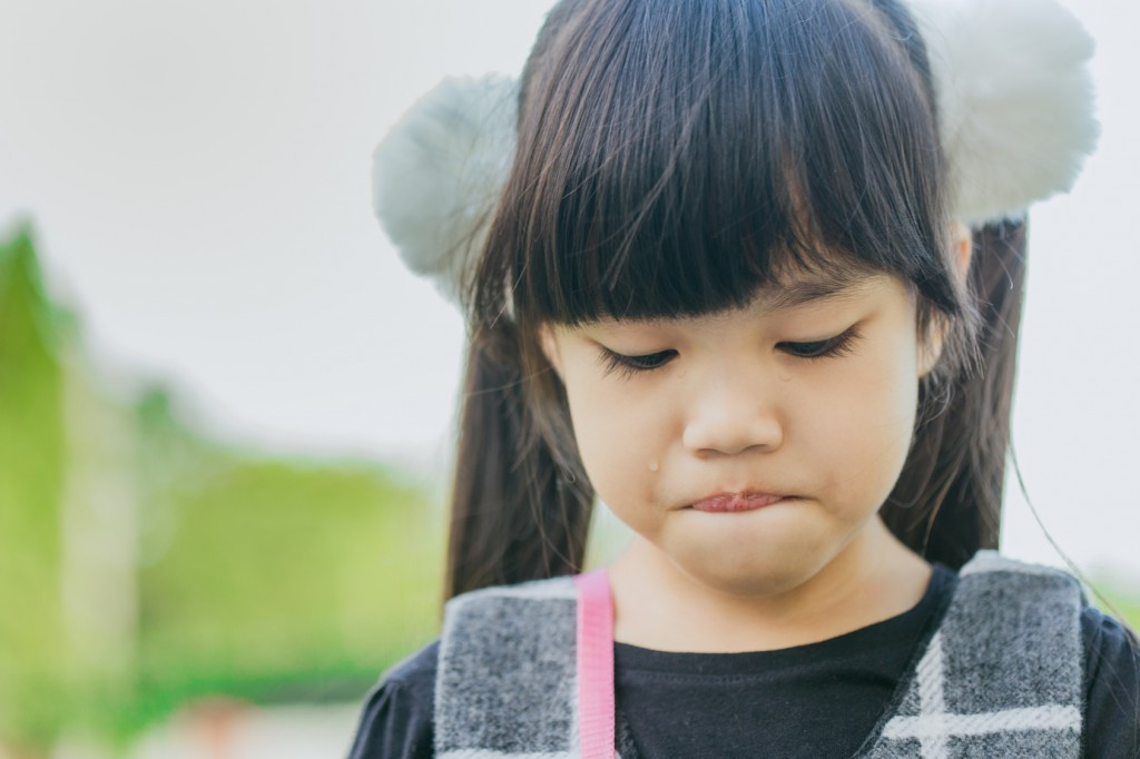 Portrait of asian girl  crying in the park
